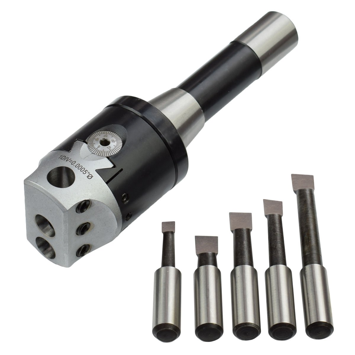 Haosegd R8 Shank 2 Boring Head 9 PCS 1//2 Inch Indexable Carbide Boring Bar Combo New